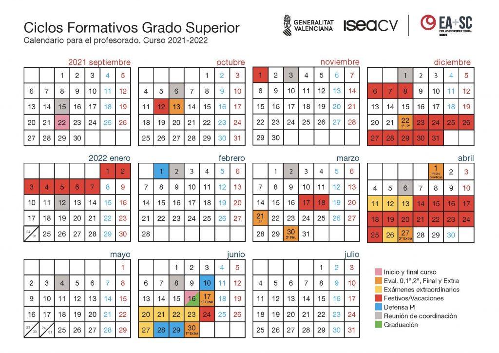 Calendario grado superior